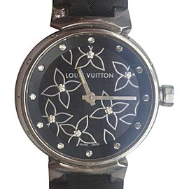 Louis Vuitton Diamond Stainless Steel Tambour Q121G Black Monogram Satin 28mm Womens Watch