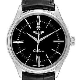 Rolex Cellini Dual Time White Gold Black Dial Mens Watch 50509 Box card