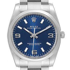 Rolex Oyster Perpetual Blue Dial Steel Mens Watch 114200 Unworn
