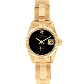 Rolex Datejust 26mm Yellow Gold Black Onyx Dial Ladies Watch 6917