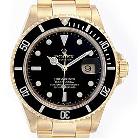 Rolex Submariner Yellow Gold Black Dial Bezel Mens Watch 16618