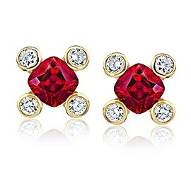 David Gross 18K Yellow Gold Ruby Earrings