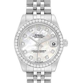 Rolex Datejust Midsize Steel White Gold MOP Diamond Ladies Watch 178384