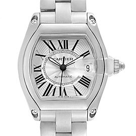 Cartier Roadster Silver Dial Steel Mens Watch W62025V3 Box Papers Strap