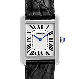 Cartier Tank Solo Steel Black Strap Quartz Ladies Watch W1018255