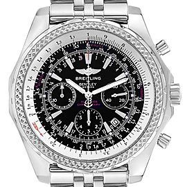 Breitling Bentley Motors Black Dial Chronograph Steel Mens Watch A25362
