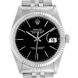 Rolex Datejust Vintage Steel White Gold Black Dial Mens Watch 16014