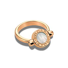 Bvlgari 18k Rose Gold Flip Ring with MOP and Pave Diamonds