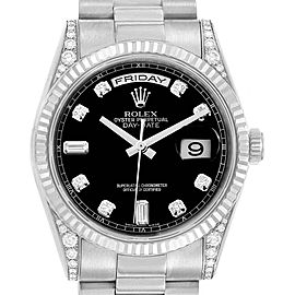 Rolex President Day-Date 18k White Gold Diamond Mens Watch 118339