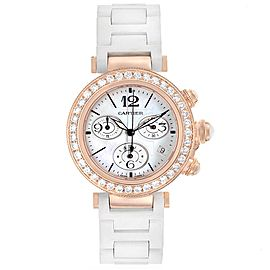Cartier Pasha Seatimer 37mm Rose Gold Diamond Ladies Watch WJ130004