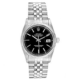 Rolex Datejust Steel White Gold Black Dial Vintage Mens Watch 1601
