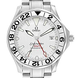 Omega Seamaster 300M GMT White Wave Dial Watch 2538.20.00 Card