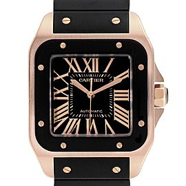 Cartier Santos 100 Rose Gold Black Dial Mens Watch W20124U2 Box Papers