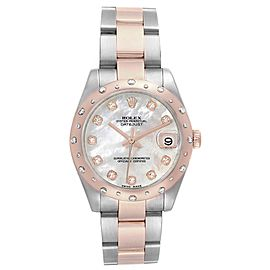 Rolex Datejust Midsize Steel Everose Gold MOP Diamond Ladies Watch 178341