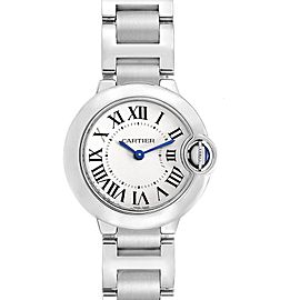 Cartier Ballon Blue 29 Silver Dial Ladies Watch W69010Z4 Box Papers