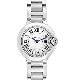 Cartier Ballon Blue 29 Silver Dial Ladies Watch W69010Z4 Box Papers
