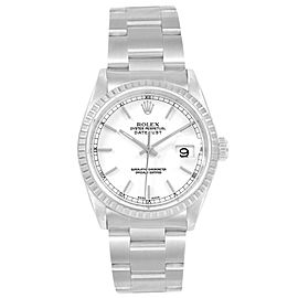 Rolex DateJust 36 White Dial Steel Mens Watch 16220 ]