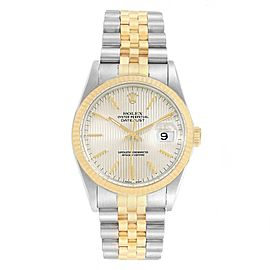 Rolex Datejust Steel Yellow Gold Tapestry Dial Mens Watch 16233