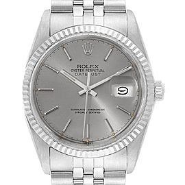 Rolex Datejust Vintage Steel White Gold Grey Dial Mens Watch 16014