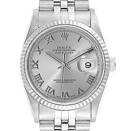Rolex Datejust 36 Steel White Gold Silver Roman Dial Mens Watch 16234