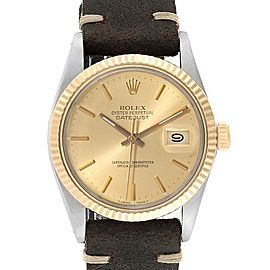 Rolex Datejust Steel Yellow Gold Fluted Bezel Vintage Mens Watch 16013