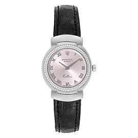 Rolex Cellini Cellissima White Gold Diamond Rose Dial Ladies Watch 6671