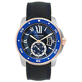 Cartier Calibre Diver Steel Rose Gold Blue Dial Mens Watch W2CA0009