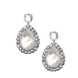 Sterling Silver White Topaz, Mother of Pearl Earrings
