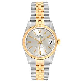 Rolex Datejust Midsize Steel Yellow Gold Silver Dial Ladies Watch 68273