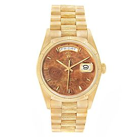 Rolex President Day-Date Yellow Gold BurlWood Dial Mens Watch 18078