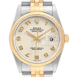 Rolex Datejust Steel Yellow Gold Anniversary Dial Watch 16233 Box Papers