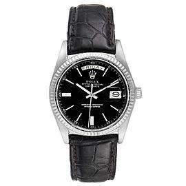 Rolex President Day-Date Vintage White Gold Black Strap Mens Watch