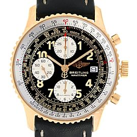 Breitling Navitimer II Black Dial 18K Yellow Gold Mens Watch K13022