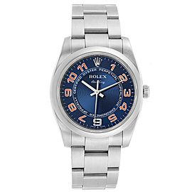 Rolex Air King Blue Concentric Dial Steel Mens Watch 114200