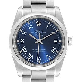 Rolex Air King 34 Blue Roman Dial Steel Mens Watch 114200 Box Card