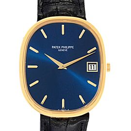 Patek Philippe Golden Ellipse Jumbo Yellow Gold Blue Dial Mens Watch 3605