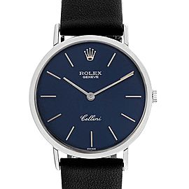 Rolex Cellini Classic 18k White Gold Blue Dial Mens Watch 4112