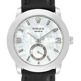Rolex Cellini Cellinium Platinum Mother of Pearl Mens Watch 5240
