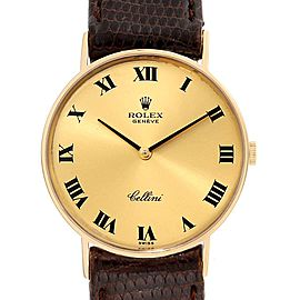 Rolex Cellini Classic 14k Yellow Gold Brown Strap Unisex Watch 3833