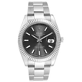 Rolex Datejust 41 Steel White Gold Black Dial Mens Watch 126334