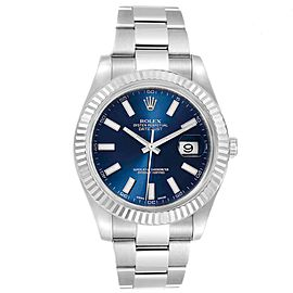 Rolex Datejust II Steel White Gold Blue Dial Mens Watch 116334