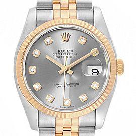 Rolex Datejust 36 Steel Yellow Gold Diamond Mens Watch 116233 Box