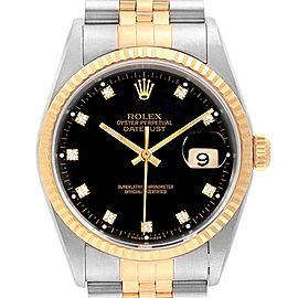 Rolex Datejust 36 Steel Yellow Gold Black Diamond Dial Mens Watch 16233
