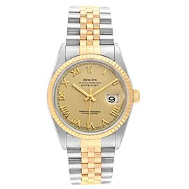 Rolex Datejust Steel 18K Yellow Gold Roman Dial Mens Watch 16233