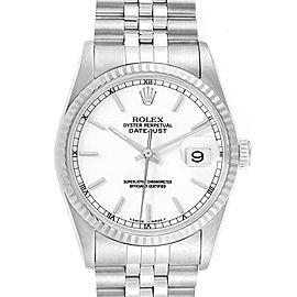 Rolex Datejust White Dial Jubilee Bracelet Steel Mens Watch 16200