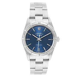 Rolex Air King 34 Blue Dial Oyster Bracelet Steel Mens Watch 14000