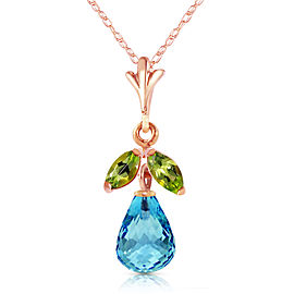 14K Solid Rose Gold Necklace with Blue Topaz & Peridots