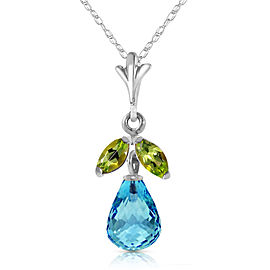 1.7 CTW 14K Solid White Gold Charm You Blind Blue Topaz Peridot Necklace
