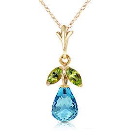 1.7 CTW 14K Solid Gold Bluest Crest Blue Topaz Peridot Necklace