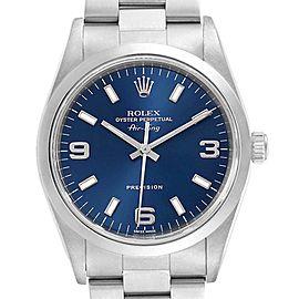 Rolex Air King 34 Domed Bezel Blue Dial Steel Mens Watch 14000